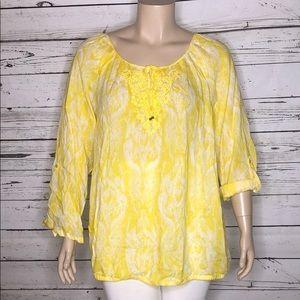 Lane Bryant 26/28 Yellow Ikat Print Peasant Shirt